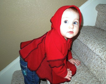 Red Riding Hood Sweater Coat with liripipe hood  for Baby
