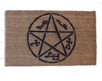 Devil's Trap Supernatural Pentagram satan doormat halloween samhain ghost doormatt