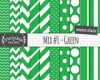 Green Digital Paper, Digital Scrapbook Paper, Stripe, Polka Dot, Chevron, Diagonal Stripe, Green Photo Background, Commercial U