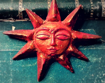 Sun face ornament original sculptured papier-mache Christmas Yule Solstice