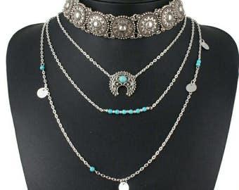 Boho,  Bohemian turquoise Necklace, Layering Necklace, Long Turquoise Necklace,cresent moon necklace,90s jewlelry,