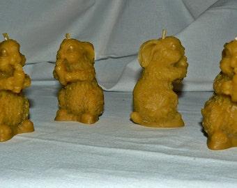 2 Natural Handmade 100% Beeswax Candles Rabbit