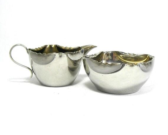 Vintage Silver Plated Sugar Bowl and Creamer Set