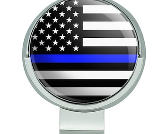 Thin blue line american flag golf hat clip with magnetic ball marker