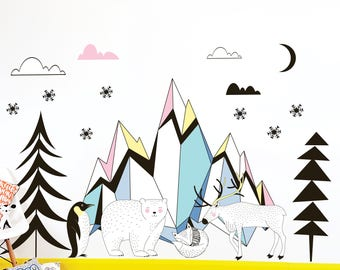 Wintry Animals Wall Stickers