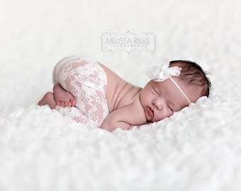 Cream Lace Pants and Lace Bow Mohair Headband Newborn Photography Prop