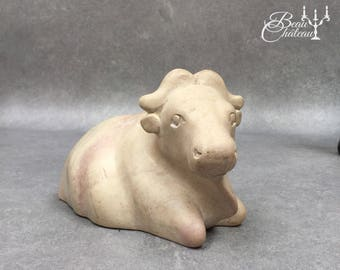Hand Carved Stone Cow or Bison. Natural Stone in Cream and Beige Tones. Lovely Character and simple style.