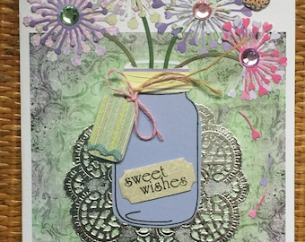 Card for all occasions, Mason Jar filled with Flowers