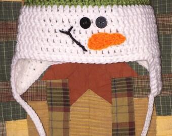 Snowman earflap beanie