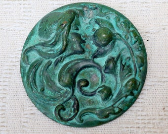 Verdigris Pendant with raised Goddess and floral image