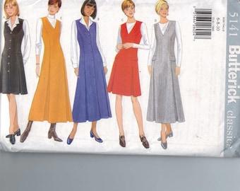 1990s Misses Sewing Pattern Butterick 5141 Misses Jumper Dress Princess Seams Button Front Size 6 8 10 Bust 30 1/2 31 1/2 32 1/2 UNCUT  99