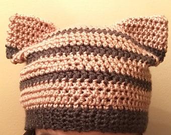 Pink/Grey Cat Hat