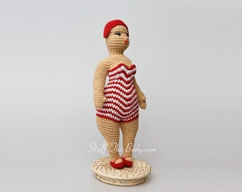 Seamless Chubby Beach Lady Doll Amigurumi Pattern, beach chic crochet pattern, fat woman figurine, home decor, diy presents, birthday gift