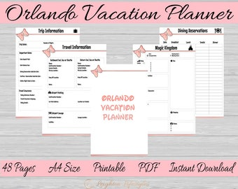 Orlando Vacation Printable Planner|Disney World Planner| Universal Studios|Travel Planner|Vacation Planner|A4 INSTANT DOWNLOAD PDF 48 Pages