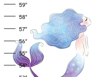 ON SALE Personalized Pink Blue Mermaid Canvas Growth Chart