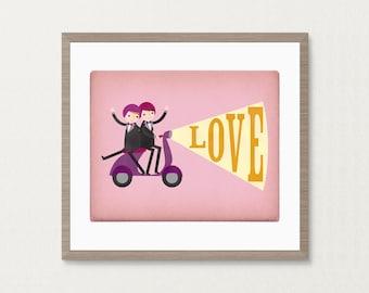 Groom and Groom Gay Moped Love Wedding - Customizable 8x10 Archival Art Print