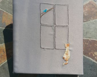 Hand Embroidered Cat at Window Sketchbook