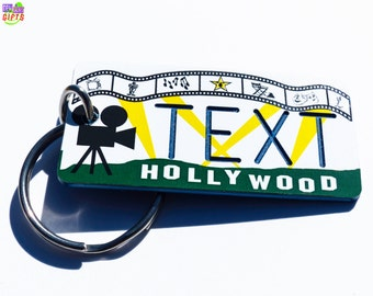 Personalized Hollywood Keychain Tag - Vintage - Machine Engraved - Vacation Gift Key Ring- Airbnb - VRBO- Homeaway- FlipKey- Wimdu-Souvenirs