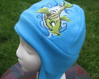 Zombie Skeleton Koi Fish on Blue and Black Fleece Ear Flap Hat