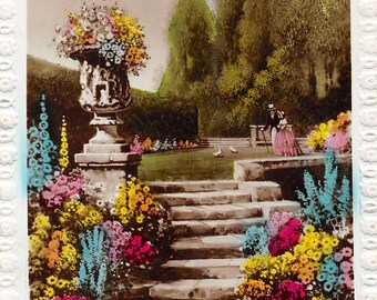 Antique photo birthday postcard Greeting Your Birthday English Floral Garden  about 1910