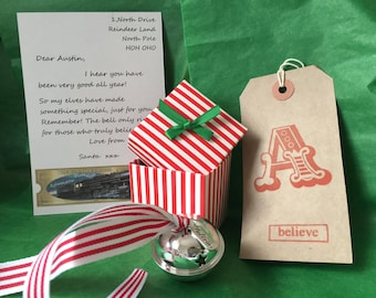 sale 40mm BOX Personalised Polar express christmas Believe Large 40MM !!!!  Silver Bell stocking filler box