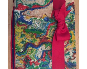 Hand Marbled Paper Journal with Red Grosgrain Ribbon Closure