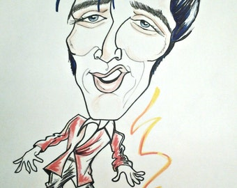 Elvis Presley Rock Portrait Rock and Roll Caricature Music Art by Leslie Mehl