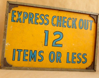 Vintage Hand Painted Double Sided Wood Sign - Express Checkout - Railroad Grocery Store - General Store  Folk Art  Wall Hanging  Handp