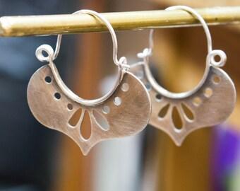 Hoop earrings, Sterling silver earrings, Boho earrings, Silver rustic earrings,Contemporary Earrings,Oxidized Hoop Earrings,Artisan earrings