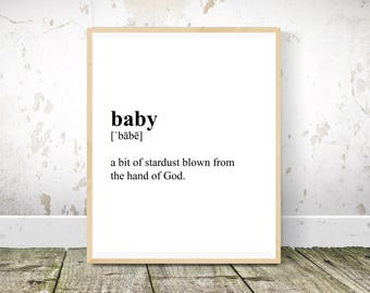 Baby Definition, Nursery Wall Art, Nursery Decor, Baby Room Decor, Nursery Prints, Nursery Wall Decor, Definition Print