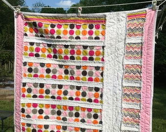 BABY RAG QUILT Ready to Ship! Baby Quilt, Rag Quilt, Crib Size Quilt, Pink Green Baby Quilt, Baby Blanket, All Cotton Quilt.