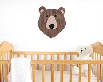 Nursery Wall Art. Kids Room Decor Art. Wooden Bear Art. Animal art. Nursery Decor. Wooden Sign. Baby Gift