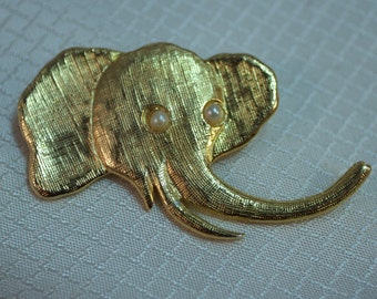 NY Designer J. Freides Gold Plated Elephant Brooch with Faux Pearl Eyes