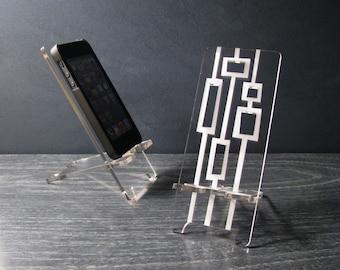 Mitte Jahrhundert moderne Rezeption Zubehör abstrakte Acryl Desktop Handy stehen 5 Größen, iPhone 4, iPhone 5, iPhone 6, iPhone 6 Plus, Universal