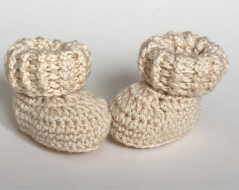 Pale beige baby booties, baby shoes, crochet baby shoes, crib shoes, baby, crochet baby booties, baby slippers, crochet