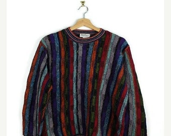 Winter Sale 40% Off Vintage Multi color Stripe round neck sweater from 90's/ boyfriend sweater