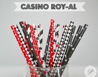 CASINO ROY-AL Paper Straws // 25 Pack of Black, Red & White Paper Straws // Spades - Stars - Stripes - Damask // 5 Designs
