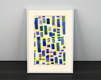 Bright abstract artwork, 5.8in x 8.2in, abstract art, bright wall art, ink art, modern art, A5 artwork,
