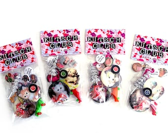 Kitsch Club Party Pack - Pins - Magnets - Animals - Party Favors - Vintage Retro Novelty - Gift Bag - Toys - Keychain - Patch