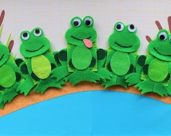 Five Green Speckled Frogs Finger Puppet Set