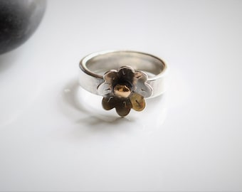 Daisy Sterling Silver & Bronze Band
