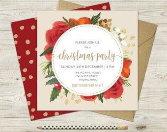 Floral Printable Christmas Party Invitation