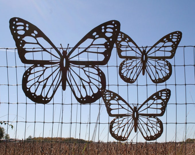 Featured listing image: Rustic Monarch Butterfly Wall Art, Set of 3 butterflies, Mixed size, rustic butterfly, monarch wall art, butterfly decor, butterfly garden