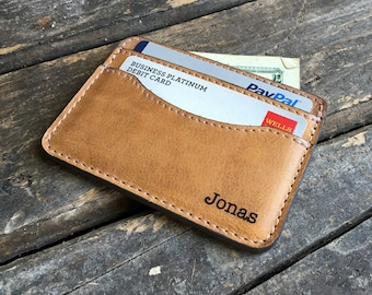 Credit Card Holder - Personalized Wallet - Slim Leather Wallet - Butterscotch