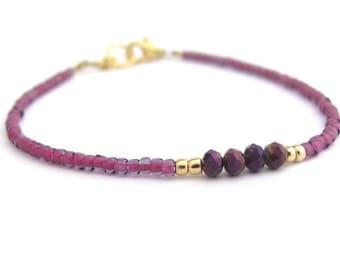Friendship Bracelet, Purple Seed Bead Bracelet, Beaded Bracelet, Minimal Bracelet, Hawaiian Jewelry, delicate dainty bracelet, gift for her