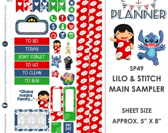 Lilo & Stitch Sampler Kit | Over 30+ Kiss-Cut Stickers | Erin Condren and Mambi  | Disney Inspired   SP049