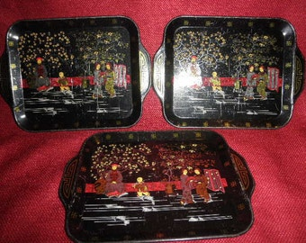 Oriental Tin Trays Miniature with Beautiful Design