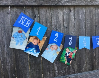 12 month photo banner, 1st birthday photo banner, first year banner, boy birthday banner