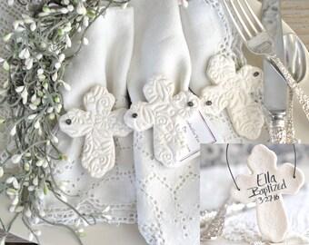 Baptism Favors Imprinted Personalized Cross Favors Set of 10 Salt Dough Napkin Ring Ornaments