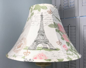 French Lamp Shade, Shabby Chic Lamp Shade, Eiffel Tower Lamp Shade, French  Country